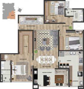 Apt final 01 | 3 qts | 123 m²