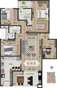 Apt final 02 | 3 qts + escritório | 129 m²