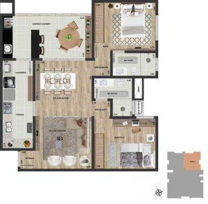 Apt final 04 | 2 qts | 86 m²